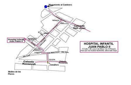 Plano de llegada al Hospital Materno Infantil Juan Pablo II